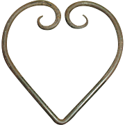 "Early Old Primitive Large Hand Wrought Iron ""Heart"""