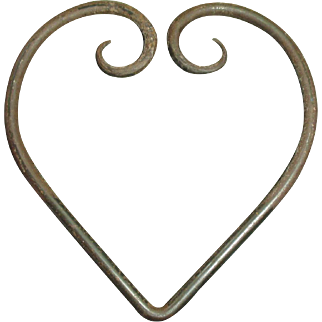 """Early Old Primitive Large Hand Wrought Iron """"Heart"""""""