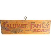 Fantastic Early Old Wooden CALUMET Family Soap Advertising Sign - Indian Motif