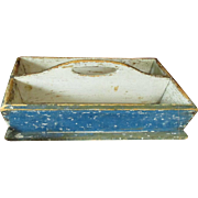 Beautiful Early Old Antique Wooden Knife Box – Old Blue Paint