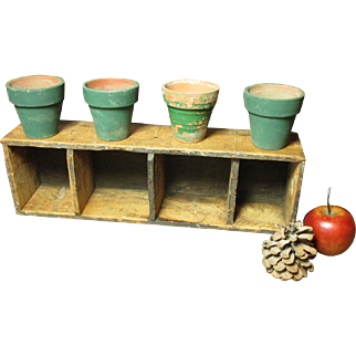 Sweet Old Primitive Wooden Divided Cheese Box w. Four Small Terra Cotta Painted Flower Pots