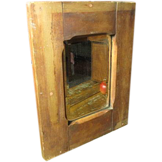 Great Grandma's Early Old Farmhouse Primitive Beveled Mirror w. Wooden Frame
