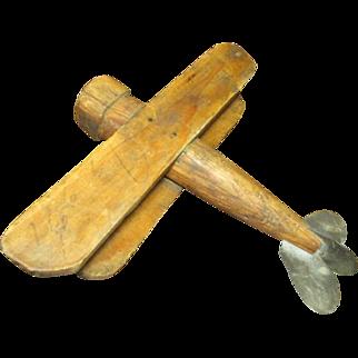 Grandpa's Old Wood and Tin Hand Made Folk Art Airplane