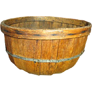 Grandma's Early Old Farm Primitive Wooden Apple Basket