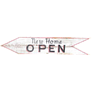 Old Wooden Vintage Painted 'New Home Open' Open House Sign - 4 Feet Long