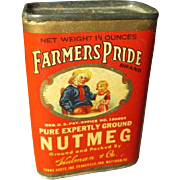 Awesome Old FARMER'S PRIDE Spice Tin - Nutmeg - Vivd Graphics, Fantastic Condition