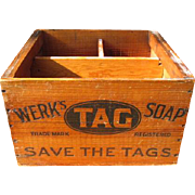 Old Advertising Wooden Box - WERK'S TAG SOAP - St. Bernard near Cincinnati, Ohio