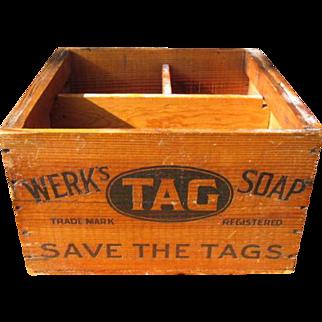 Old Advertising Wooden Box - WERK'S TAG SOAP - St. Bernard near Cincinnati, Ohio