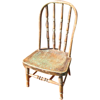 Fabulous Early Old Primitive Antique Child's Chair w. Remnants of Old Paint