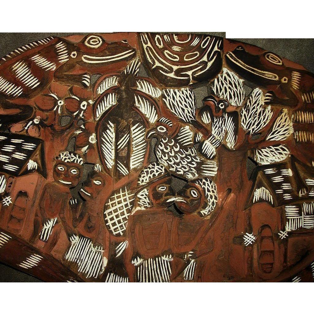 Rare Vintage Australian Aborigine Hand Carved Painted Wood