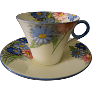 Shelley England Blue & Pink Daisy Cup & Saucer