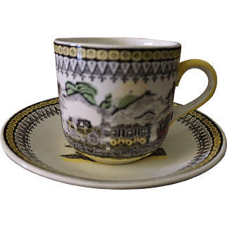 Portland Pottery Regal Works Train Design Cup & Saucer