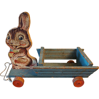 Vintage Fisher Price No. 406 Bunny with Wagon