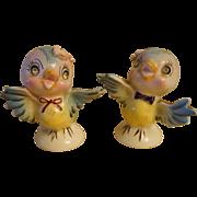 Vintage Lefton Bluebird Salt & Pepper Shakers Rhinestone Eyes - #239