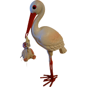 Vintage Plastic Stork with Baby