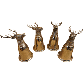 Set of 4 Gucci Stag Stirrup Cups