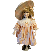 """Pat Thompson signed doll """"Girl in Peach Dress"""""""