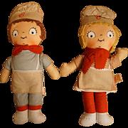 Pair Vintage Knickerbocker Campbell Kids Cloth Dolls