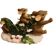"Fitz & Floyd Charming Tails Mice ""Bringing Home the Tree"" Figurine"