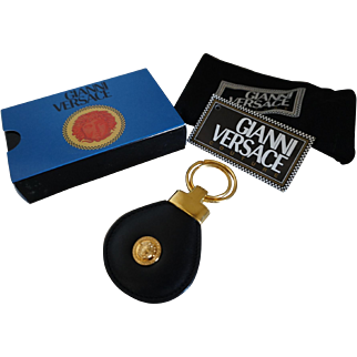 Rare Gianni Versace Black Leather Couture Key Chain