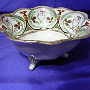 Hand Painted Nippon Art Nouveau Footed Bowl