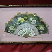 1909 Art Nouveau Rose Fan Calendar - Framed