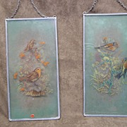 Pair Vintage Hand Painted Glass Prints - Birds