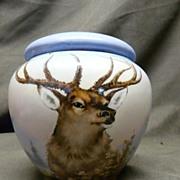 Gerard, Duffraisseix & Abbot (GDA) Limoges Stag Biscuit Jar