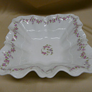 Antique Carl Tielsch Germany Square Ruffled Bowl