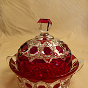 EAPG Ruby Flash Red Block Covered Butter Dish