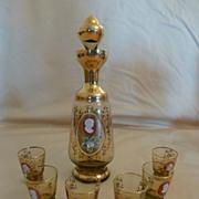 Unique Vintage Bohemian Glass Cameo Decanter Set