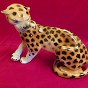 Royal Dux Porcelain Snarling Leopard