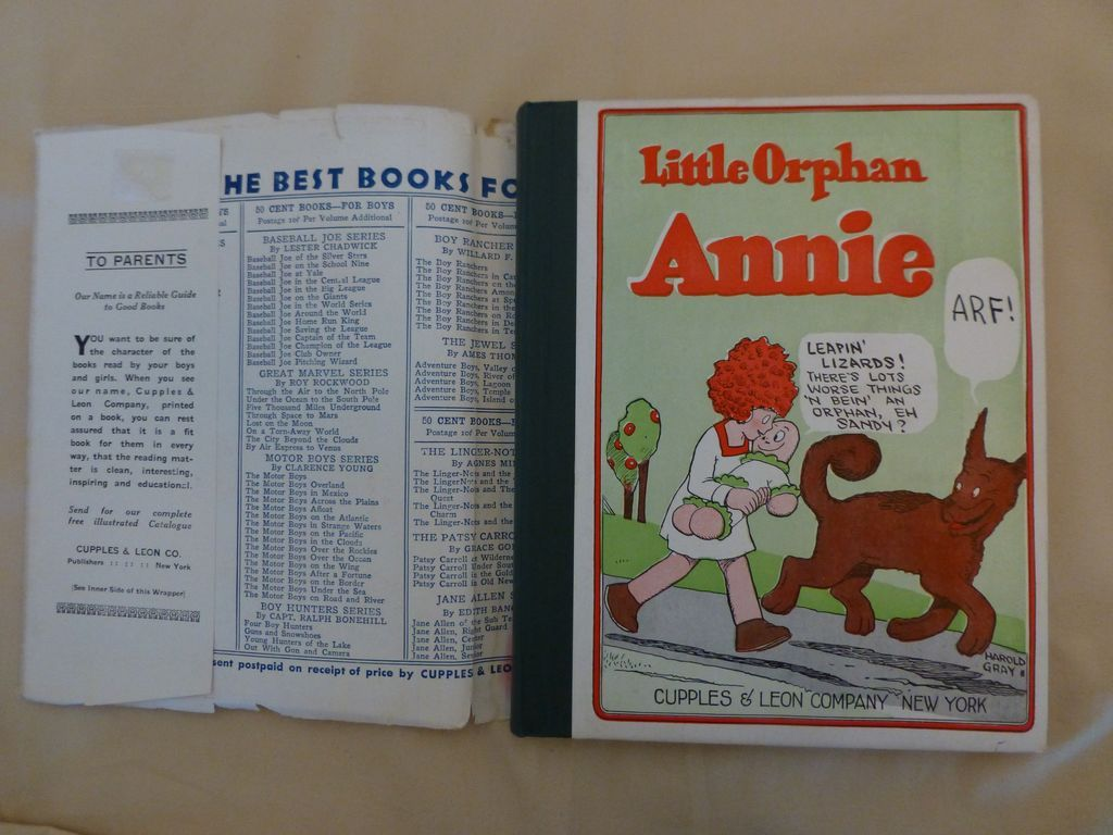 Little Orphan Annie Best Lines: 1926 Little Orphan Annie Book W/ Dust Cover From