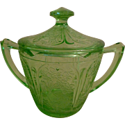 Green Depression Sugar Bowl with Lid - Cherry Blossom