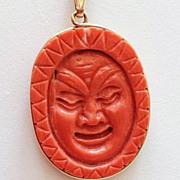 Vintage Chinese 14K Gold Frame Salmon Coral Pendant