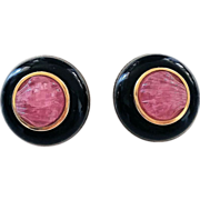 Pair of Vintage 14K Yellow Gold Carved Pink Tourmaline Shell Onyx Post Earrings with Clasps 24.8 Grams