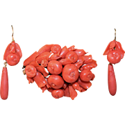 Antique Victorian 14K Yellow Gold Mediterranean Salmon Red Coral Fruit and Tulip Flower Bouquet Brooch and Earrings With Original Box