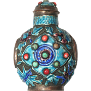 Vintage Chinese Enameled Copper Coral Turquoise Snuff Bottle
