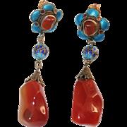 Vintage Chinese Gilt Silver Filigree Enamel Baroque Carnelian Flower Dangling Earrings with Posts