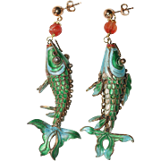 Vintage Chinese Gilt Silver Enamel Carved Carnelian Koi Fish Earrings with 14K Gold Filled Posts