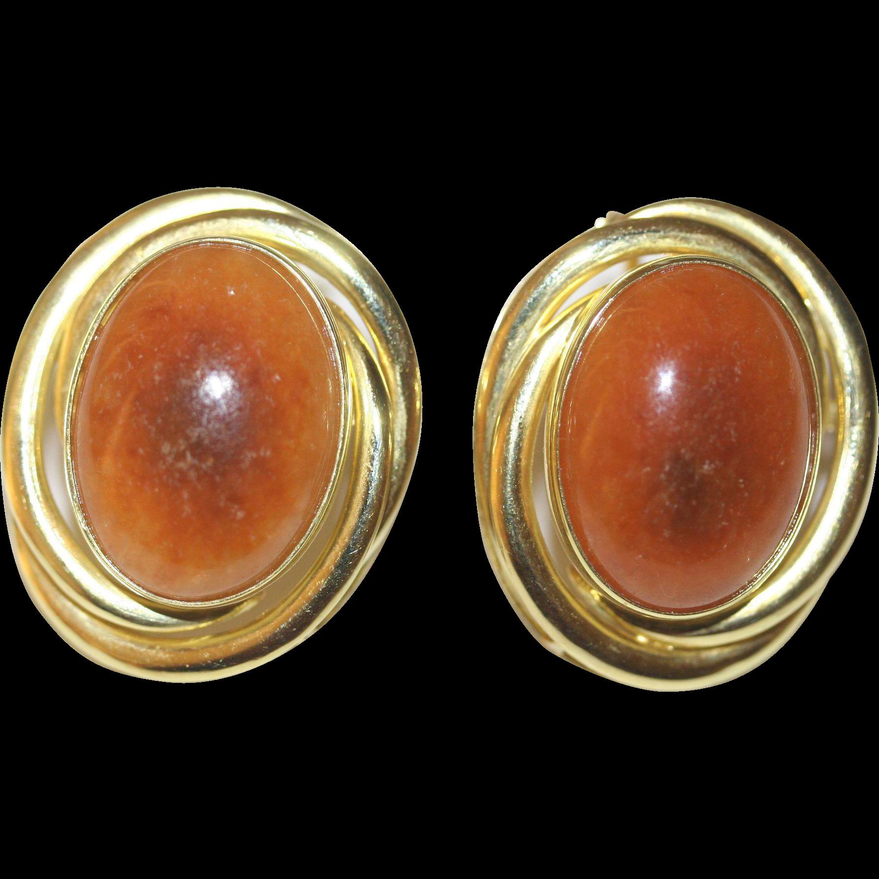 vintage large chinese 14k yellow gold russet orange red brown jadeite jade earrings with posts 276 grams