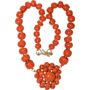 Antique 14K Yellow Gold Victorian Mediterranean Deep Salmon Red Coral Floral Cluster Beaded Pendant Necklace 95 Grams