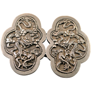 Antique Chinese Silver Repousse Fierce Dragon among Clouds Belt Buckles