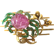 Magnificent Large Important Vintage Chinese 14K Yellow Gold Emerald Apple Green Jadeite Jade Pink Tourmaline Crab Flower 3D Brooch or Pendant Weighs 23 Grams