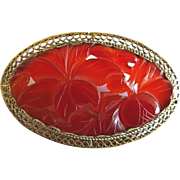 Art Deco Chinese 14K Gold Filigree Carved Carnelian Pomegranate Fruit with Leaves Floral Brooch