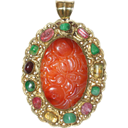 Magnificent Extra Large Art Deco Chinese Gold Gilded Silver Carved Carnelian Jade Tourmaline Pendant 35.6 Grams