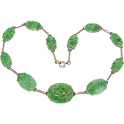 "Art Deco Chinese 14K White Gold Carved Apple Green Jadeite Jade Plum Flower Floral Bird Scene Choker Necklace 15.5"" Long"