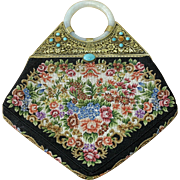 Art Deco Petit Point Needlepoint Floral Gilt Ormolu with Turquoise Clasp, Carnelian Turquoise Jewels and Celadon White Jade Bangle Handle Purse