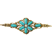 Victorian 14K Yellow Gold Bar Pin Brooch with Turquoise and Seed Pearl