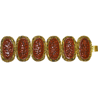 Very Wide Exquisite Vintage Chinese Gold Gilded Silver Filigree Dragon Carved Red Cinnabar Hinged Bracelet Marked